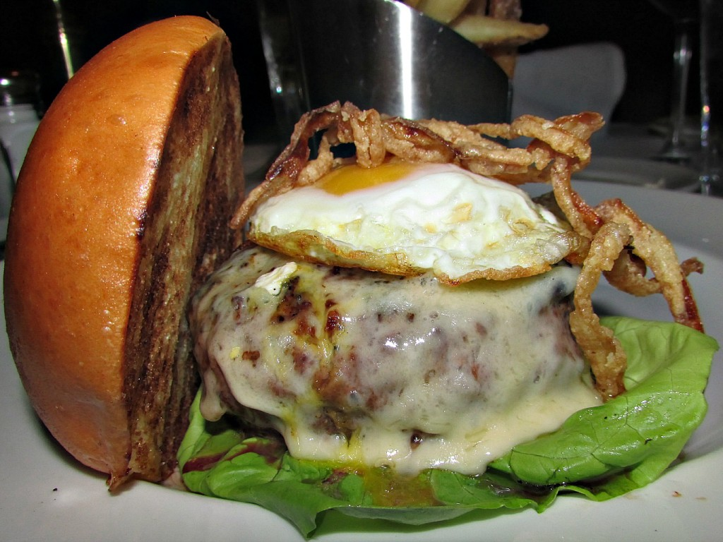 Capital Grille Wagyu Cheeseburger with Fried Egg and Crisp Onions